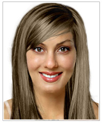 Straight bridal hairstyle with bangs